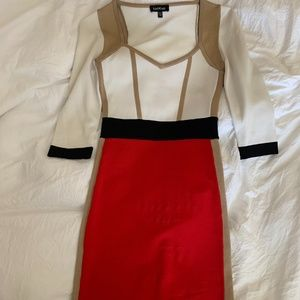 BEBE Red and White Mini Dress